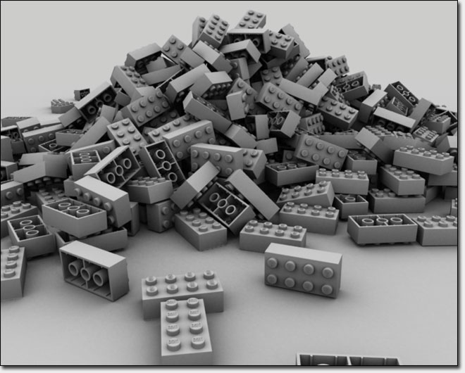 Ambient occlusion pass of Lego bricks simulation